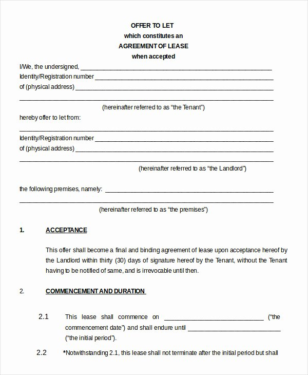 House Lease Agreement Template New Printable Blank Lease Agreement form 17 Free Word Pdf