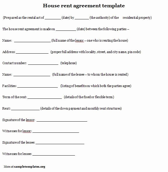 House Lease Agreement Template Unique 10 Best Of House Rental Agreement Template House