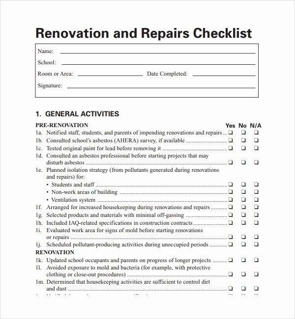 House Renovation Checklist Template Elegant 10 Renovation Checklist Templates to Download