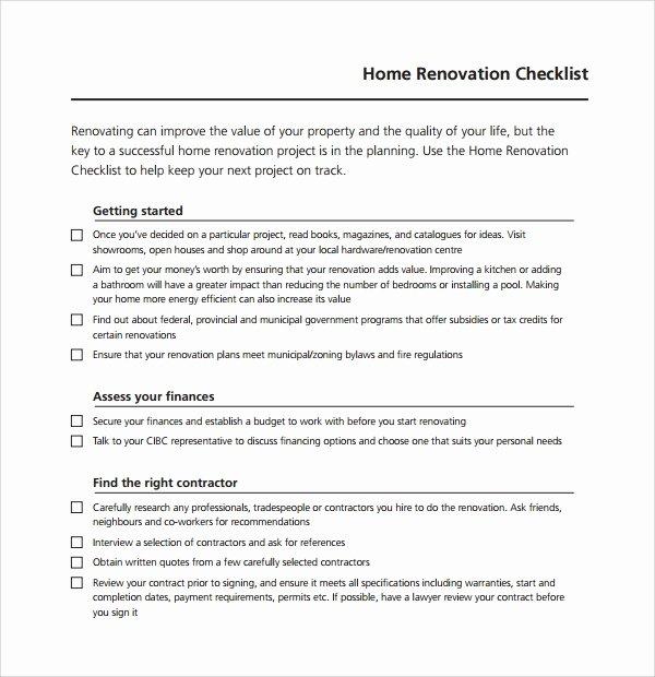 House Renovation Checklist Template Inspirational 10 Renovation Checklist Templates to Download