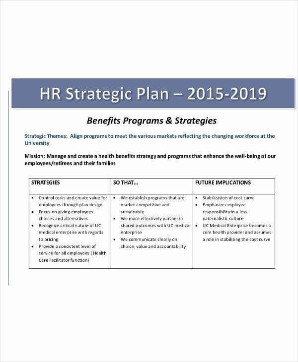 Hr Strategic Plan Template Best Of 40 Strategic Plan Templates
