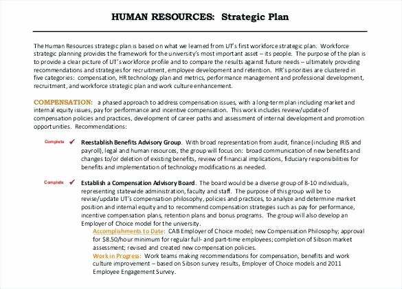 Hr Strategic Plan Template Luxury Example Human Resources Strategic Plan Free Template