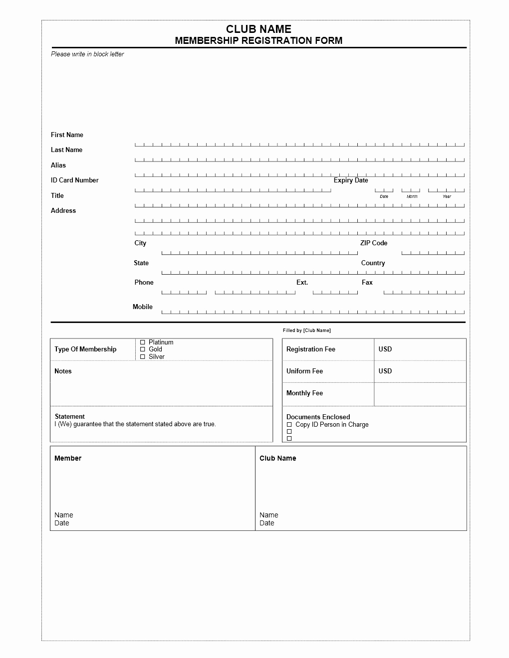 Html Registration form Template Beautiful Club Membership Application form