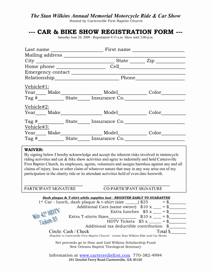 Html Registration form Template Unique Car Show Registration form Templates Word Excel Samples