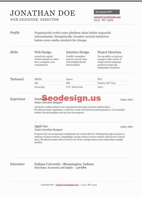 Html5 Resume Template Free Awesome 10 HTML Portfolio Resume Cv Templates