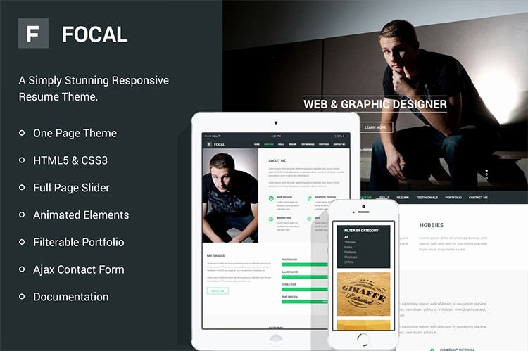 Html5 Resume Template Free Awesome 41 HTML5 Resume Templates Free Samples Examples format