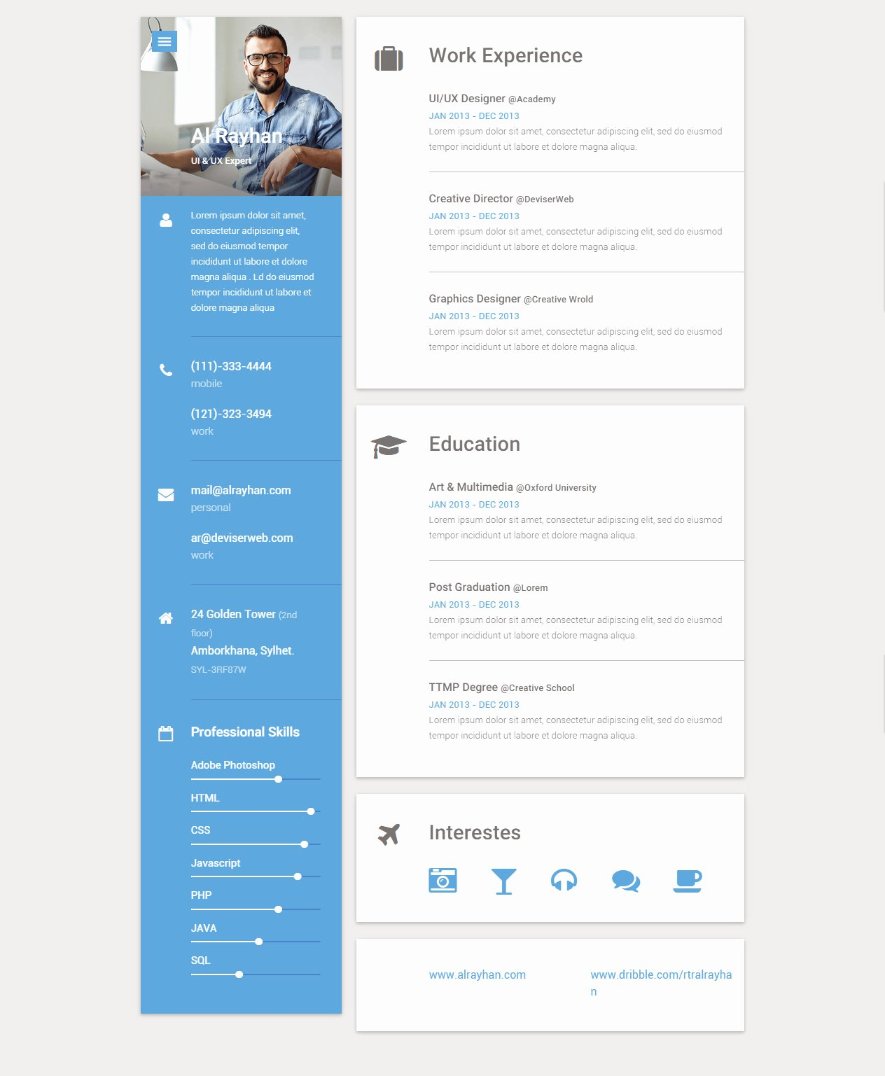 Html5 Resume Template Free Awesome Responsive Cv Resume 5 Template Resumes Cv