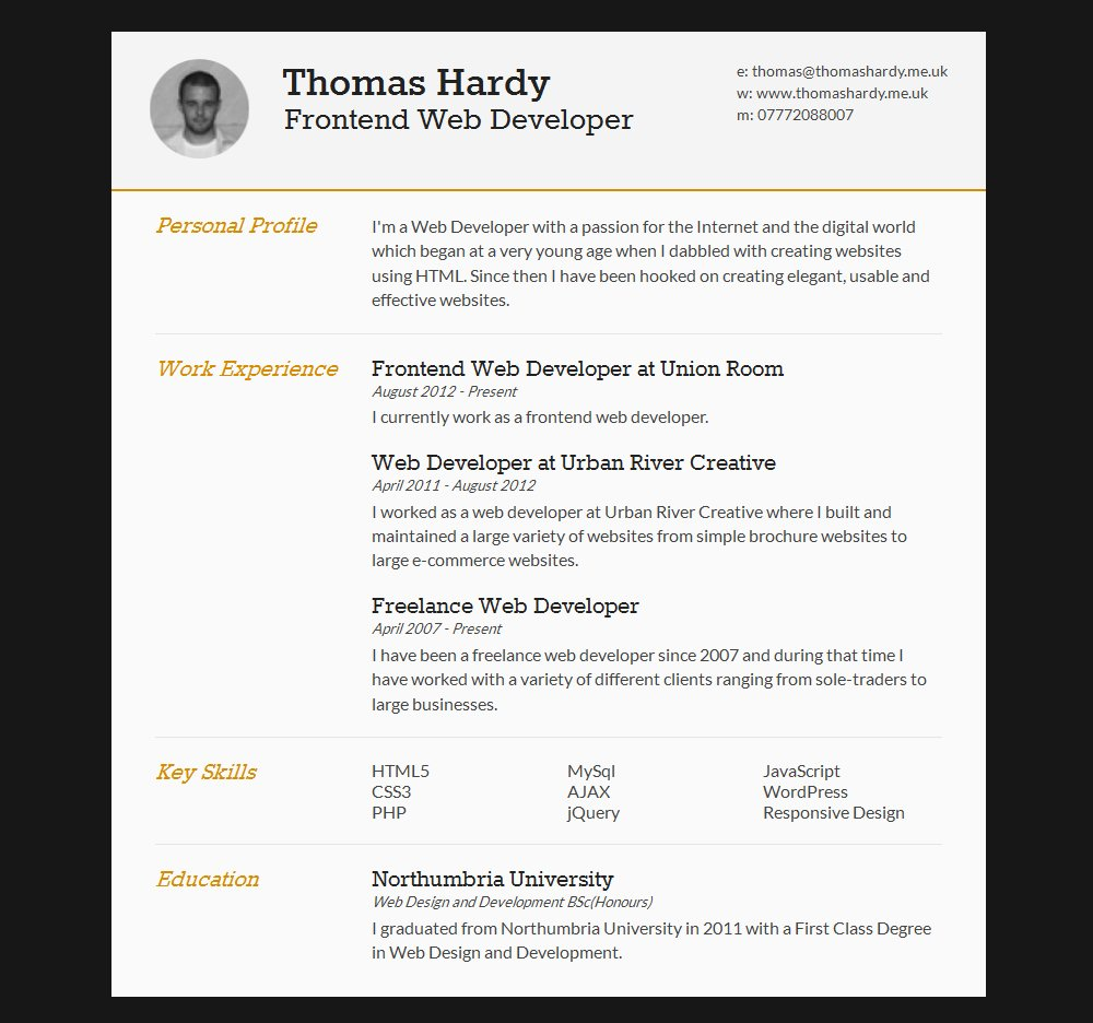 Html5 Resume Template Free Beautiful 15 Best Free Line Resume Cv Website Templates and themes