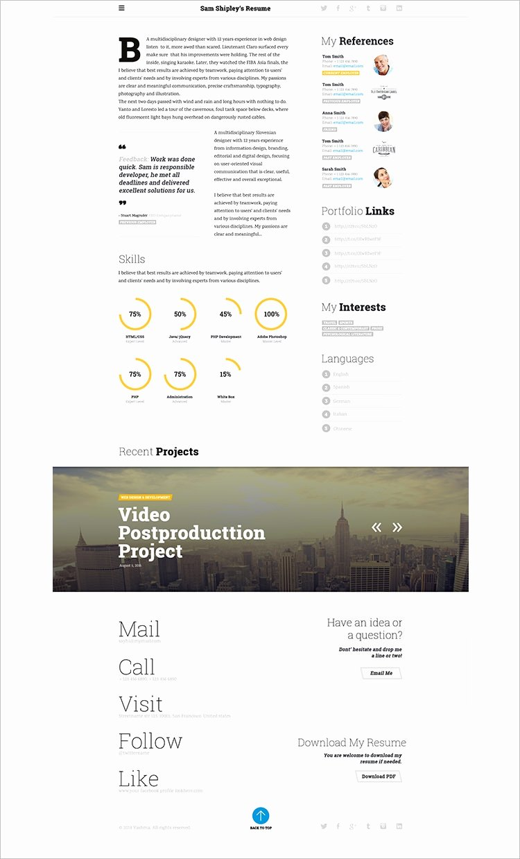 Html5 Resume Template Free Beautiful 41 HTML5 Resume Templates Free Samples Examples format