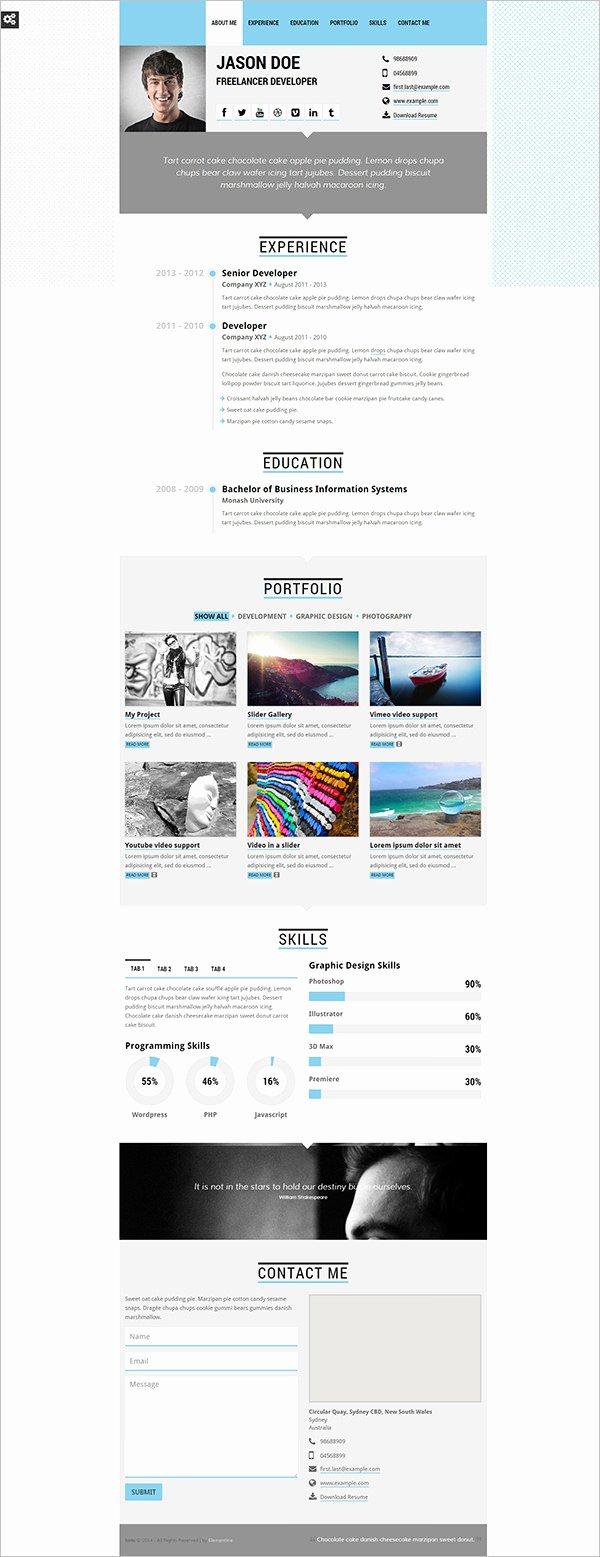 Html5 Resume Template Free Elegant 41 HTML5 Resume Templates Free Samples Examples format