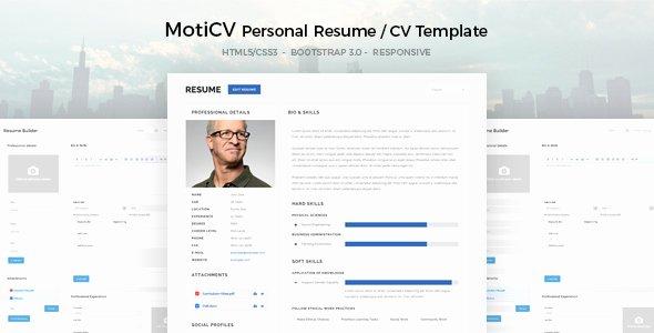 Html5 Resume Template Free Elegant Moticv Resume Cv HTML5 Template by Uouapps