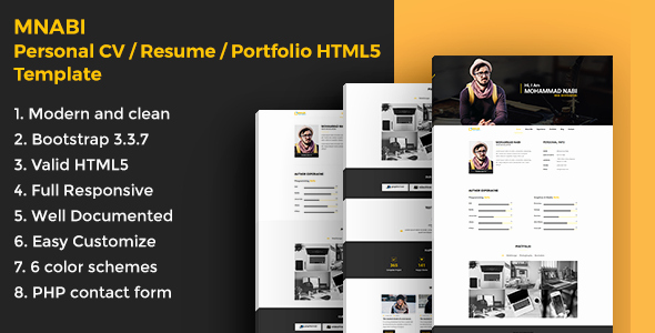 Html5 Resume Template Free Inspirational Mnabi Personal Cv Resume Portfolio HTML5 Template by