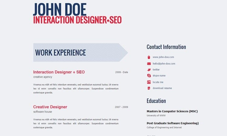 Html5 Resume Template Free Lovely Free HTML5 Resume Templates