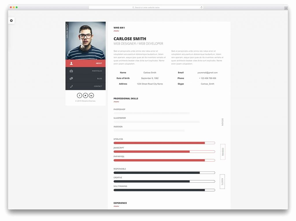 Html5 Resume Template Free Luxury Resume Cv HTML5 Template Free