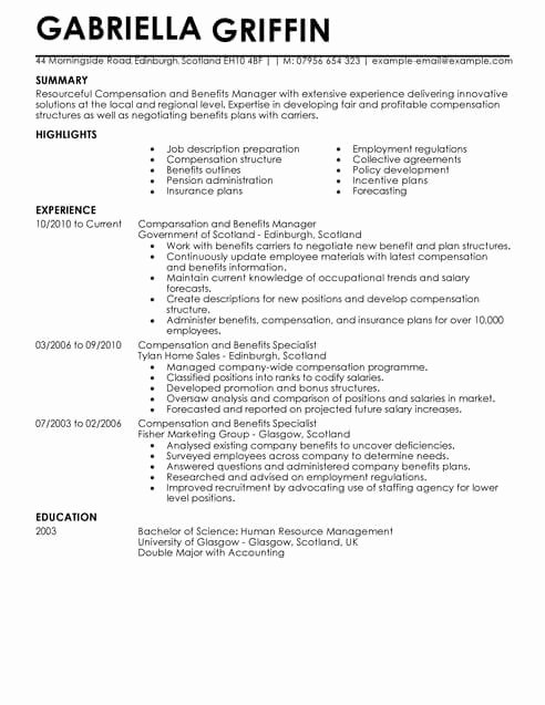 Human Resource Manager Resume Template Awesome Pensation and Benefits Cv Template