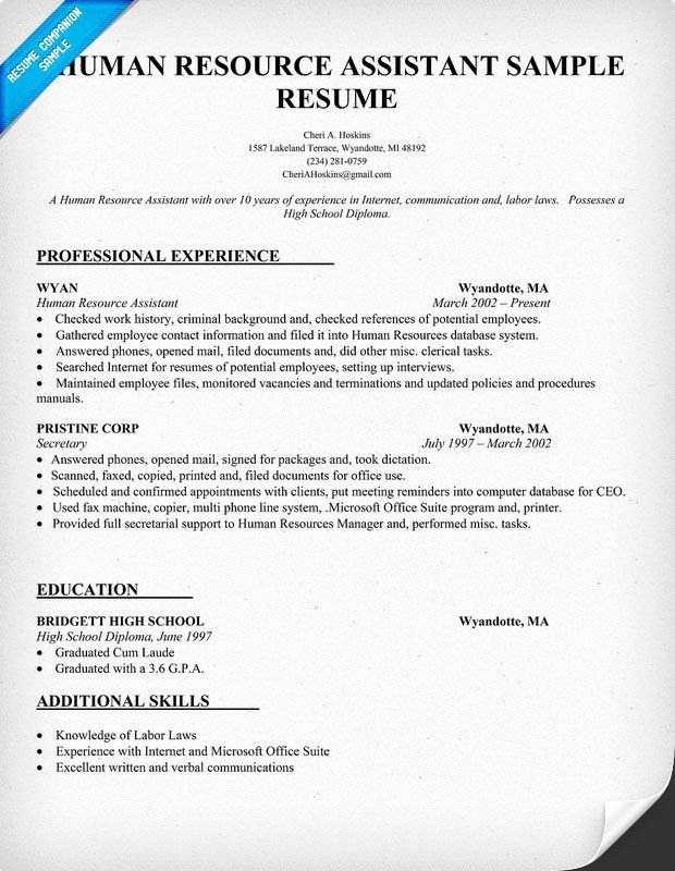Human Resource Manager Resume Template Best Of Human Resource assistant Resume Sample Resume Panion