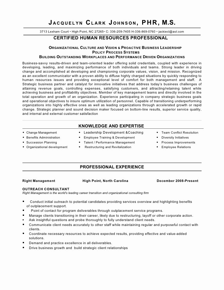 Human Resource Manager Resume Template Best Of Strategic Thinker Business Partner Human Resource