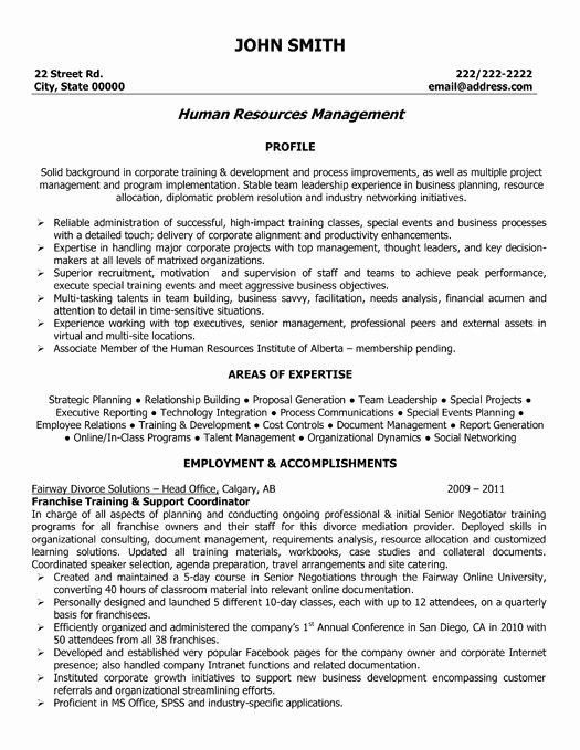 Human Resource Manager Resume Template Elegant Human Resources Manager Resume Sample & Template