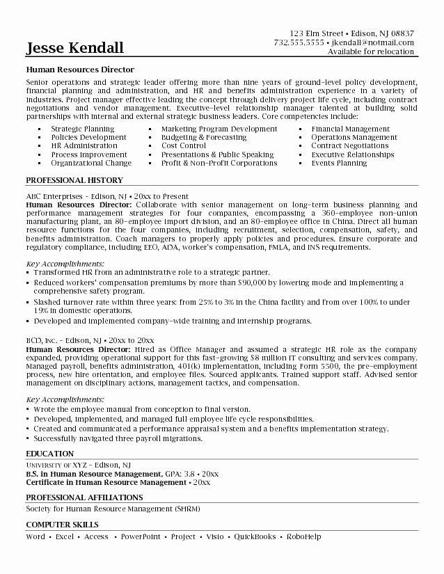 Human Resource Manager Resume Template Fresh Human Resource Manager Resume