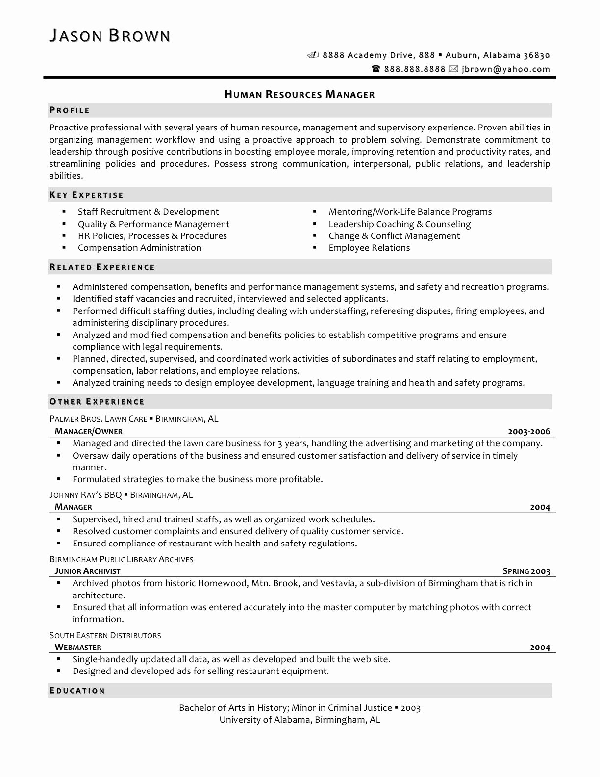 Human Resource Manager Resume Template Fresh Professional Resume Human Resources Manager Bongdaao