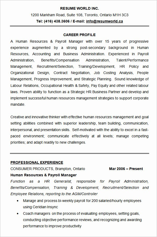 Human Resource Manager Resume Template Inspirational 21 Hr Resume Templates Doc