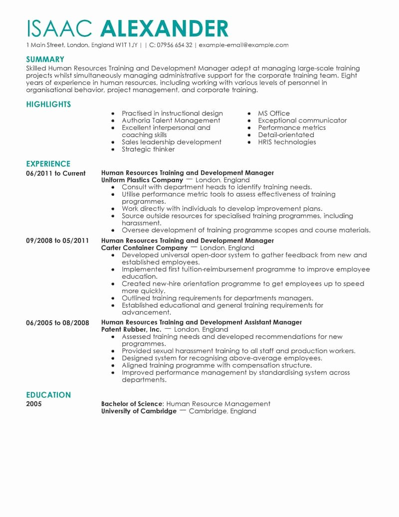 Human Resource Manager Resume Template Inspirational Best Training and Development Resume Example