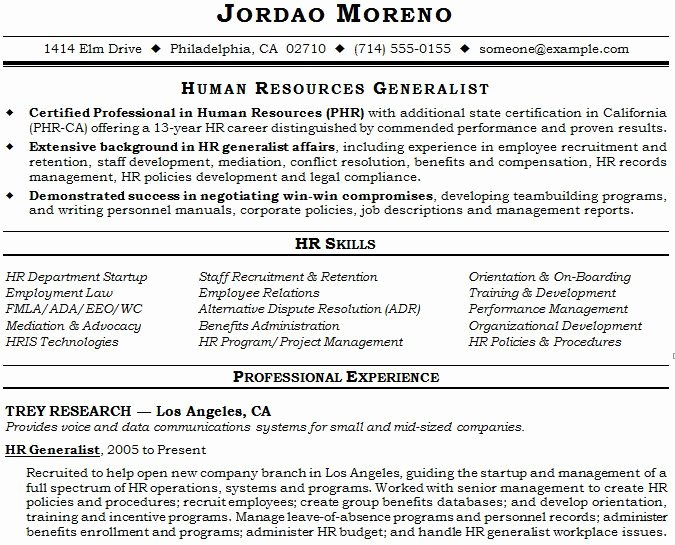 Human Resource Manager Resume Template Inspirational Human Resource Generalist Resume Example
