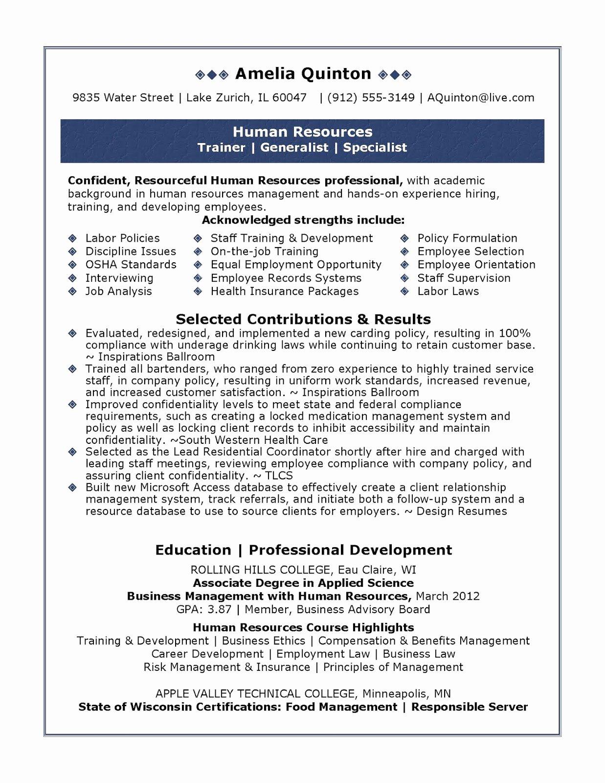 Human Resource Manager Resume Template Inspirational Sample Human Resources Resume