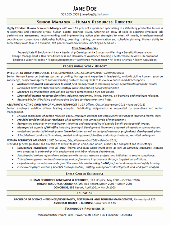 Human Resource Manager Resume Template Inspirational View Human Resources Manager Resume Example