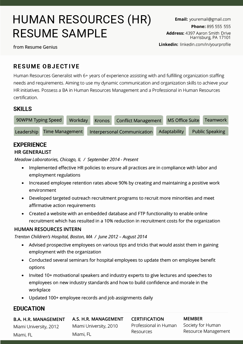 Human Resource Manager Resume Template Lovely Human Resources Hr Resume Sample & Writing Tips