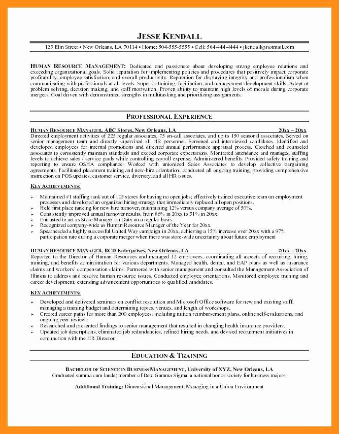 Human Resource Manager Resume Template Luxury 12 13 Human Resource Management Resumes