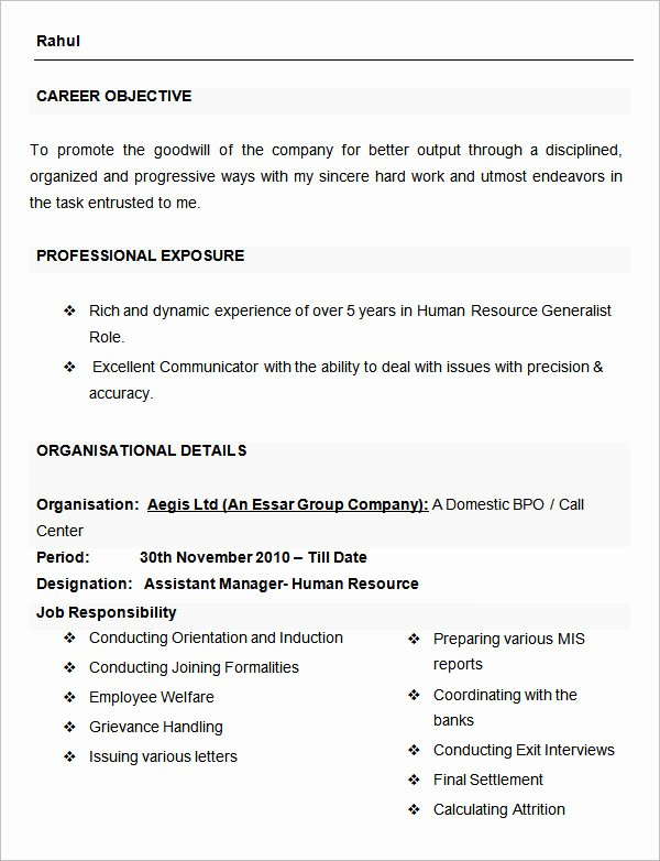 Human Resource Manager Resume Template Luxury 40 Hr Resume Cv Templates Hr Templates