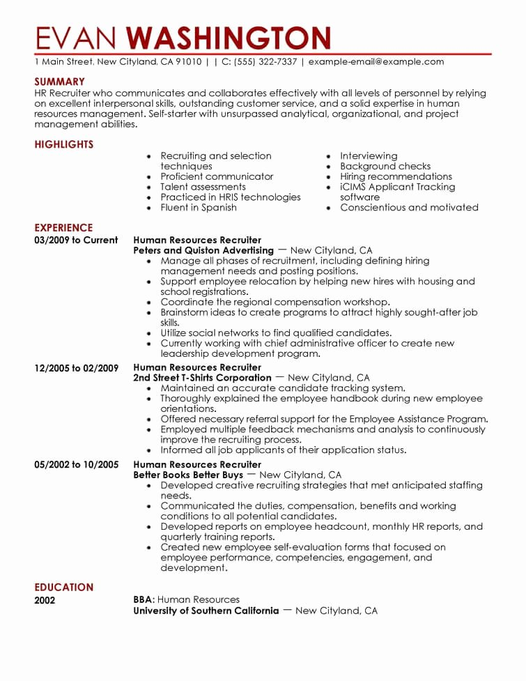 Human Resource Manager Resume Template Luxury 7 Amazing Human Resources Resume Examples