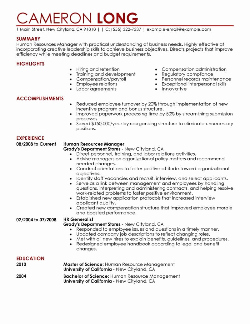 Human Resource Manager Resume Template Luxury Best Human Resources Manager Resume Example