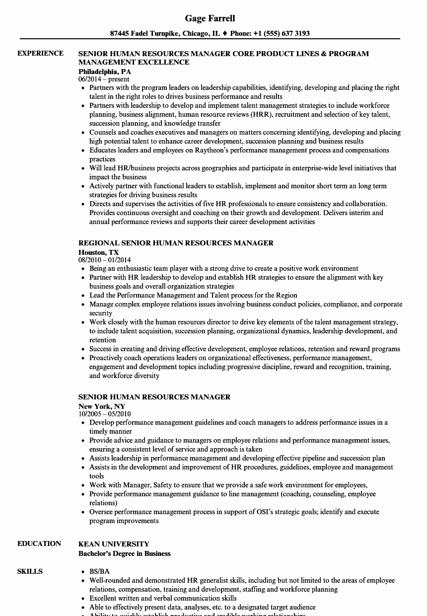 Human Resource Manager Resume Template New Senior Human Resources Manager Resume Samples
