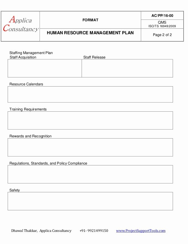 Human Resource Plan Template Beautiful Human Resource Management Plan Ready Template
