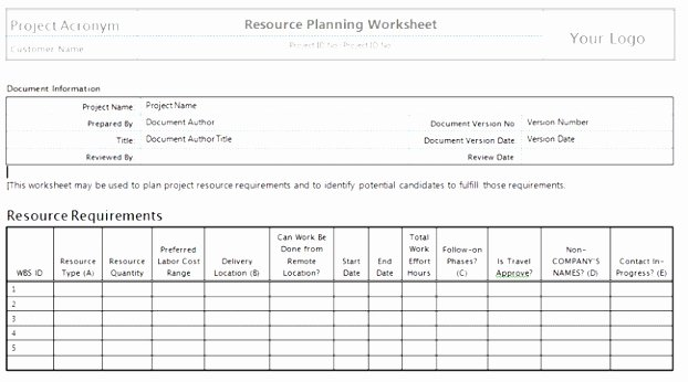 Human Resource Plan Template Lovely 6 Project Management Human Resources Plan Template oroip
