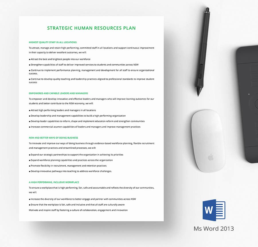 Human Resource Plan Template Luxury 7 Free Human Resource Strategy Templates Sales