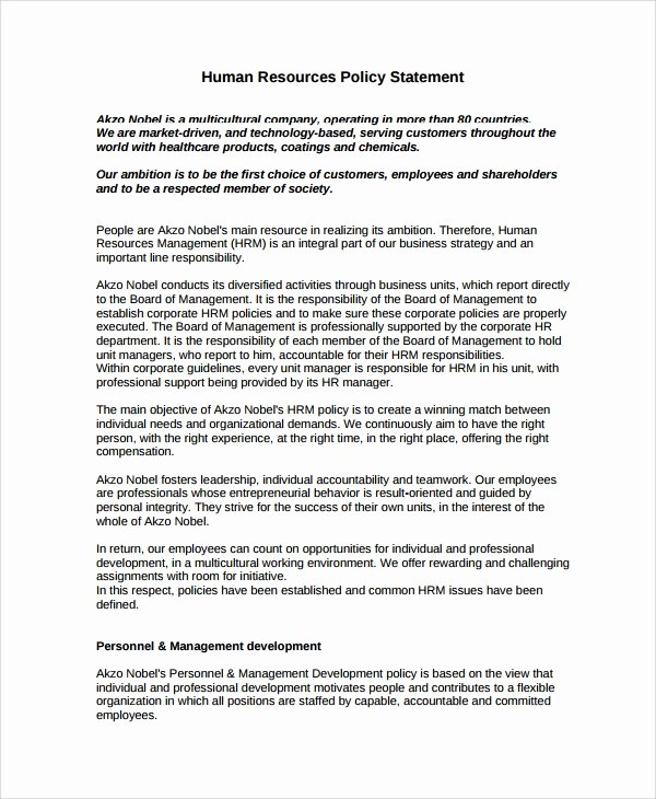 Human Resource Policy Template Awesome 7 Sample Hr Resource Templates