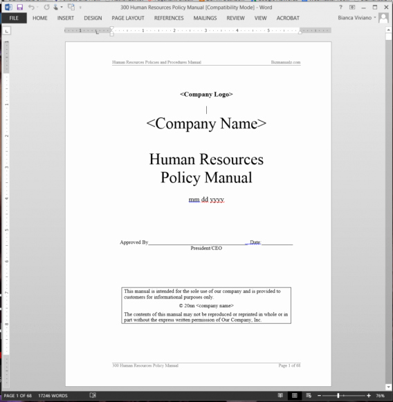 Human Resource Policy Template Awesome Human Resources Policy Manual