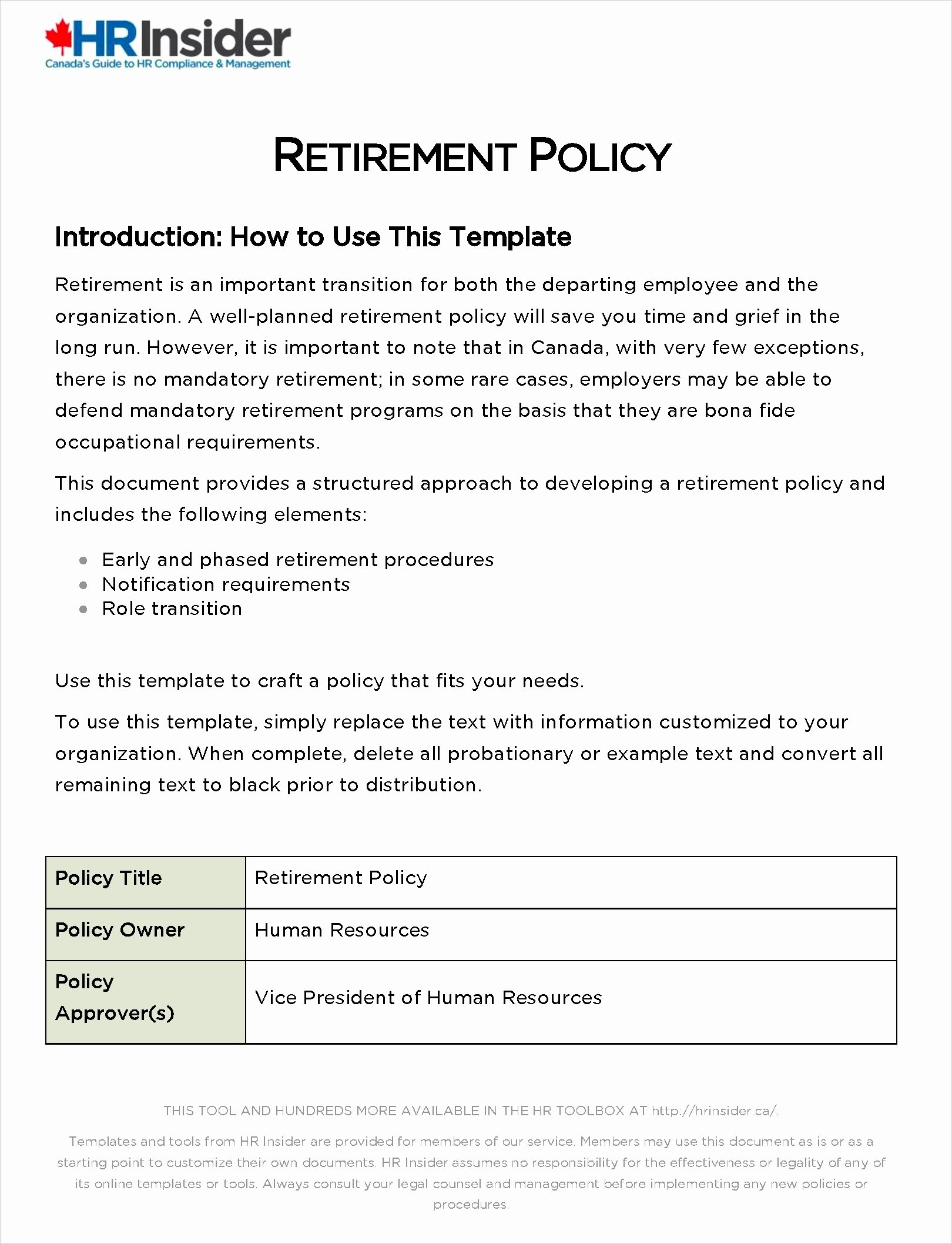 hr policy template