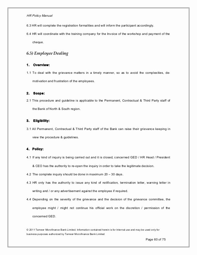 Human Resource Policy Template Best Of Human Resource Policy 2011 12