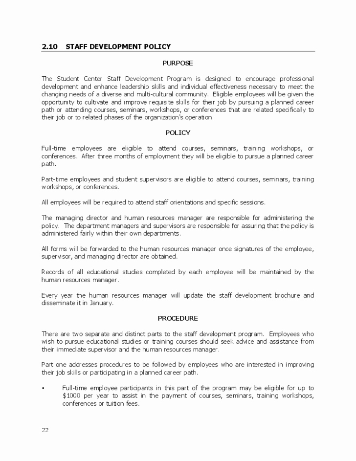 Human Resource Policy Template Elegant Human Resources Policy & Procedures Manual Free Download