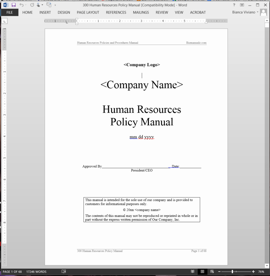 Human Resource Policy Template Inspirational Human Resources Policy Manual
