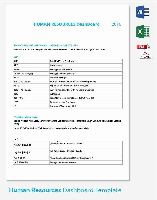 Human Resources Dashboard Template New 9 Sample Hr Dashboards