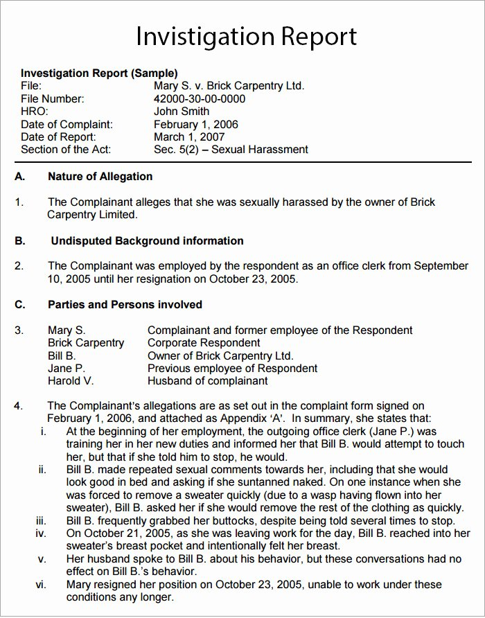 Human Resources Investigation Report Template Awesome Workplace Investigation Report Template 7 Free Pdf