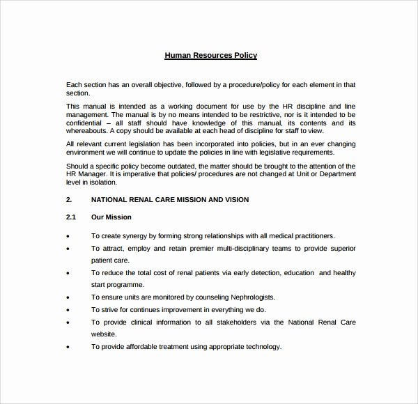 Human Resources Policy Template Beautiful 7 Hr Manual Templates to Download