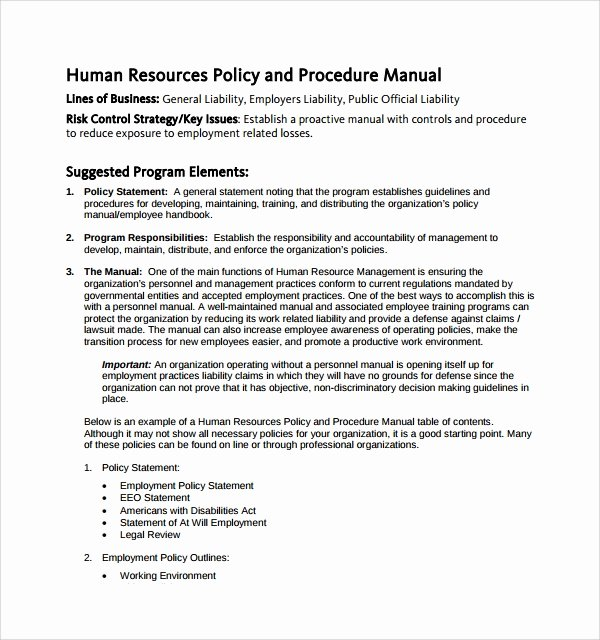 Human Resources Policy Template Best Of 7 Hr Manual Templates to Download