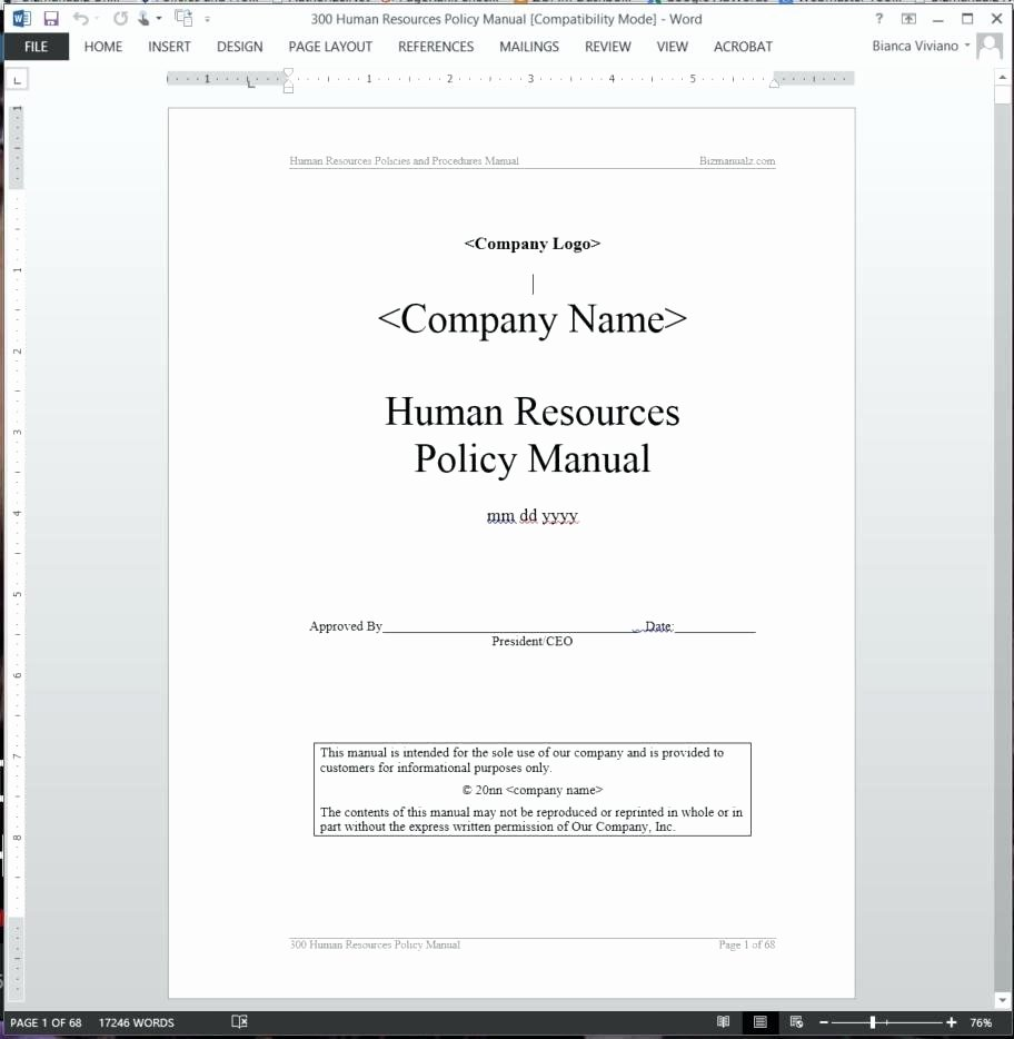 Human Resources Policy Template Best Of Template Policies Template