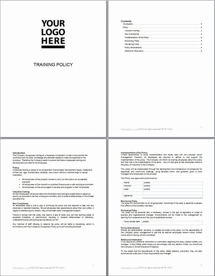Human Resources Policy Template Fresh Training Policy Template Document Redtapedoc